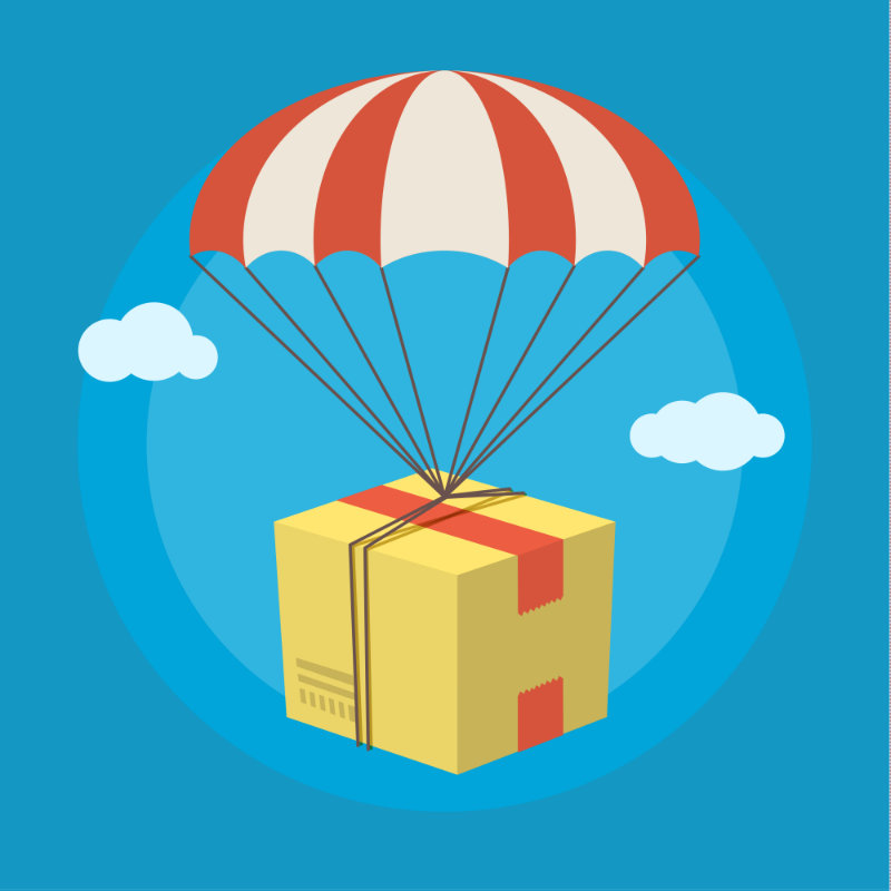 Package being dropped from the sky with a parachute